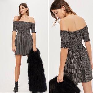 TOPSHOP black gold smocked babydoll stretchy dress